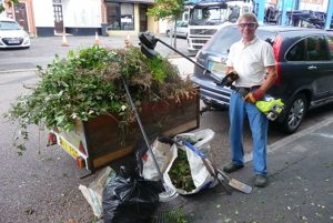 Tom Southam NBCPP for using his trailer to take all the sacks of tins and bottles cleared from the churchyard to the tip and also loads of greenery