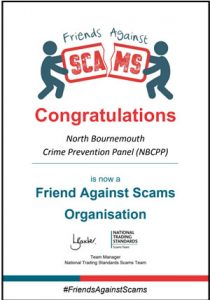Certificate the panel Friends Against Scams